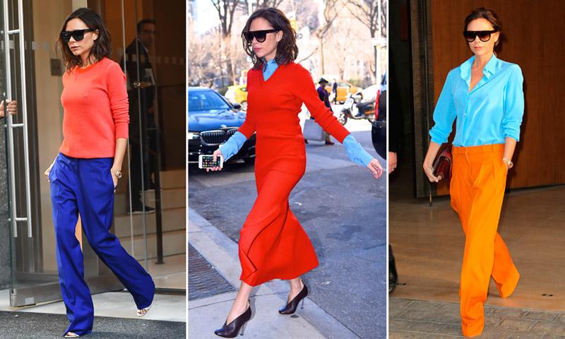 Victoria Beckham, en 4 'combos' de color perfectos (¡atrévete con ellos!)