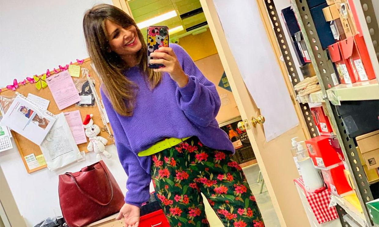 El look 'imposible' de Nuria Roca con sus nuevos pantalones de flores