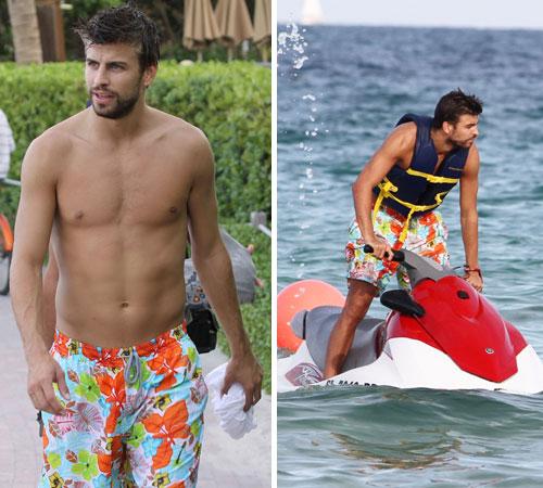 Mientras Shakira triunfa sobre los escenarios, Piqué disfruta de sus últimos días de vacaciones en la playa