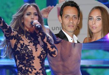 Jennifer López se luce frente a su novio y su ex, Marc Anthony, que presume de su joven novia