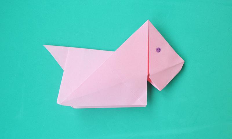 Manualidades aprende a hacer un perro de papel de forma - Origami para todos ...