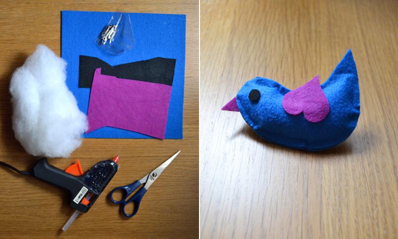 Regalos originales: cómo hacer un broche de fieltro con forma de pájaro