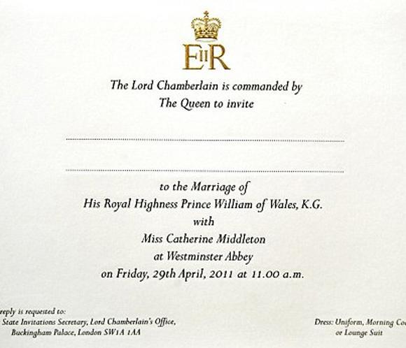 Así es la invitación de la boda de Guillermo de Inglaterra y Catherine Middleton