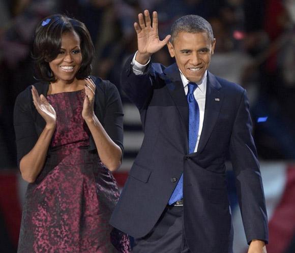 Michelle Obama repitió vestido en la noche de la reelección de su marido