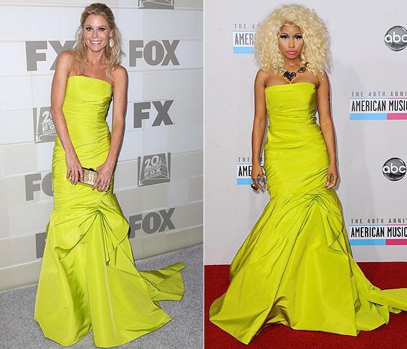 ¿Quién lo lleva mejor? Julie Bowen y Nicki Minaj, con el mismo vestido de Monique LHuillier