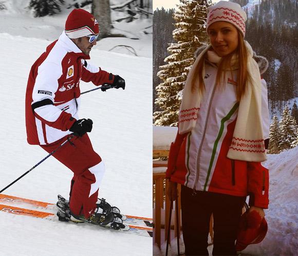 Fernando Alonso y Dasha Kapustina, dos enamorados en la nieve