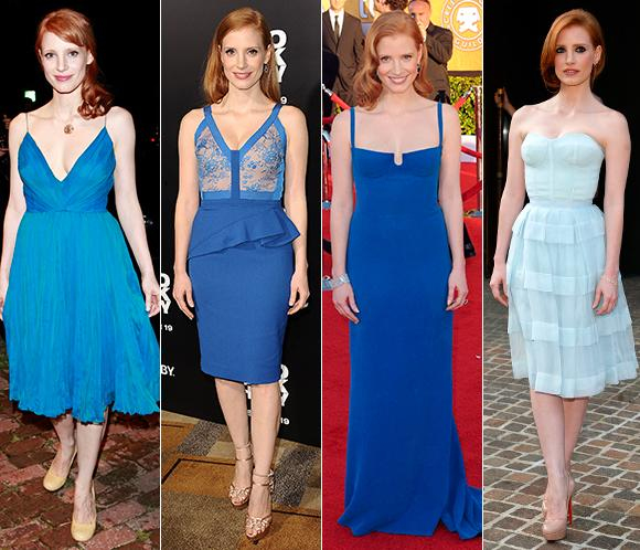 Jessica Chastain y su amor... ¡por el color azul!