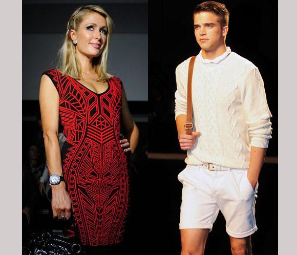 Paris Hilton se cuela en la pasarela 080 Barcelona con su novio, el modelo español, River Viiperi