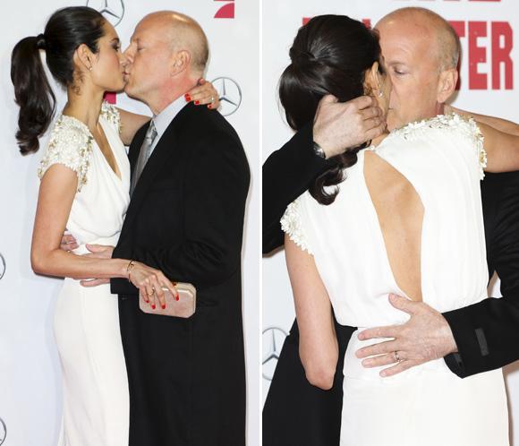 El beso de película de Bruce Willis a su esposa Emma Heming