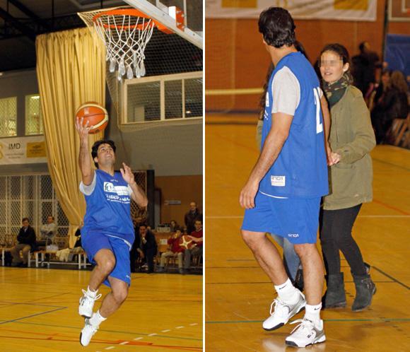 Francisco Rivera juega por una buena causa al baloncesto con su hija Cayetana entre el público