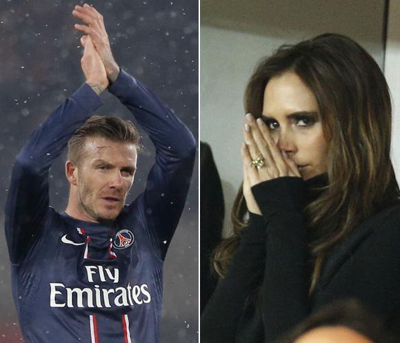 Victoria Beckham no puede reprimir los nervios en el debut de su marido en el Paris Saint Germain