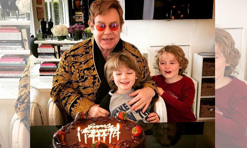 Elton John sopla las velas de su 70 cumpleaños junto a sus hijos, ¡cómo han crecido!