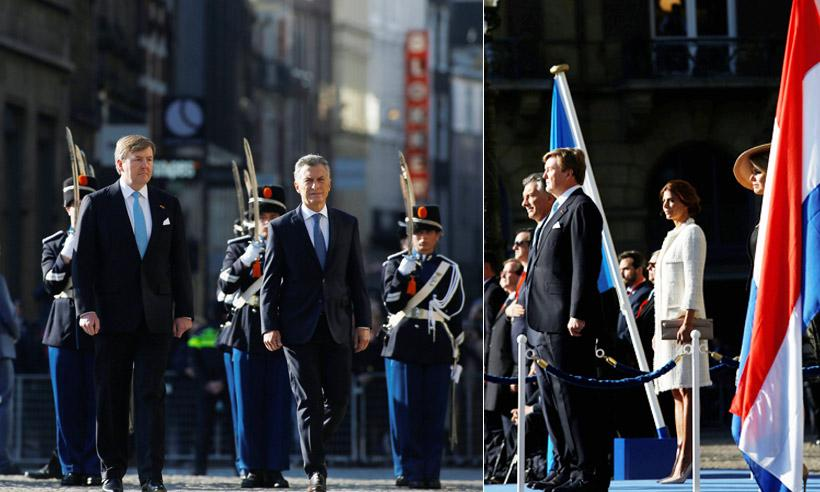 Los Reyes de Holanda reciben al presidente y a la primera dama de Argentina
