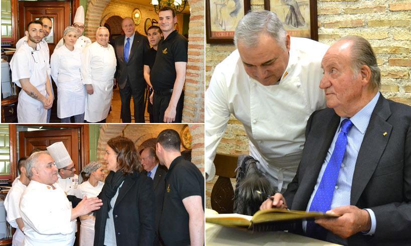 El rey Juan Carlos disfruta de un cocido madrileño en el barrio de Vallecas