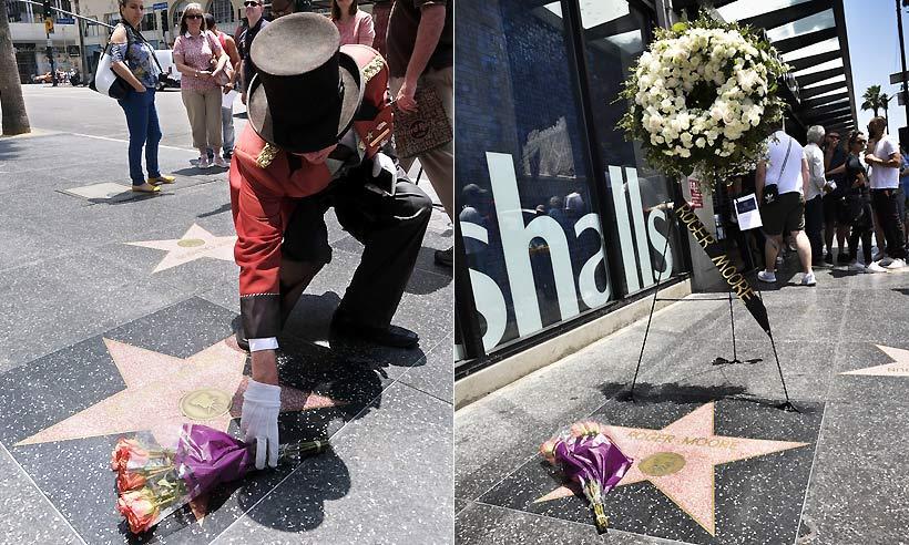 Los fans de Roger Moore homenajean con flores su estrella del Paseo de la Fama de Hollywood