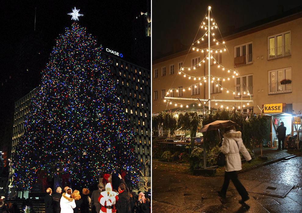 La majestuosidad del árbol de Navidad de Detroit choca con la sencillez de alguno de los árboles que adornan las calles de Berlín.