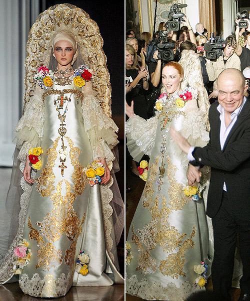 Envuelto por la polémica a causa de la crisis económica, Christian Lacroix cerró su desfile con una novia sacada de la iconografía religiosa,