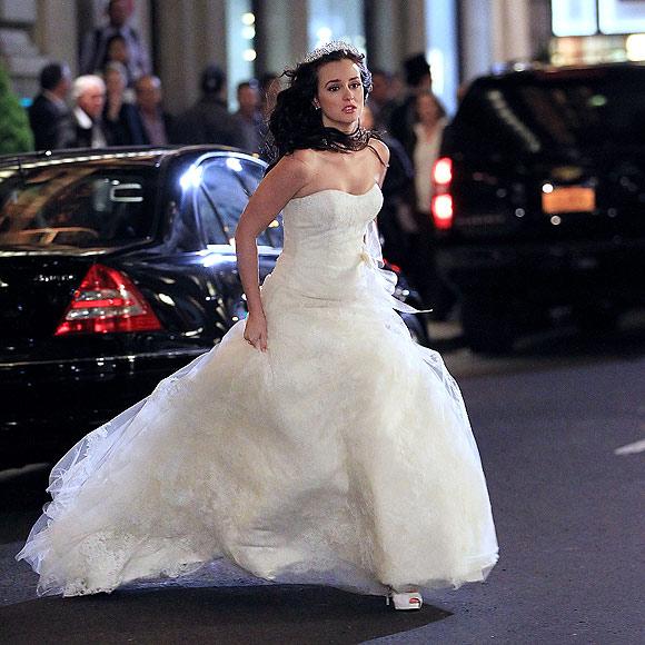 Leighton Meester, una novia a la carrera en el rodaje de 'Gossip Girl'