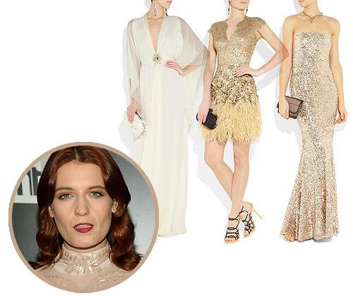 Los tres 'looks' de novia en color oro de Florence Welch