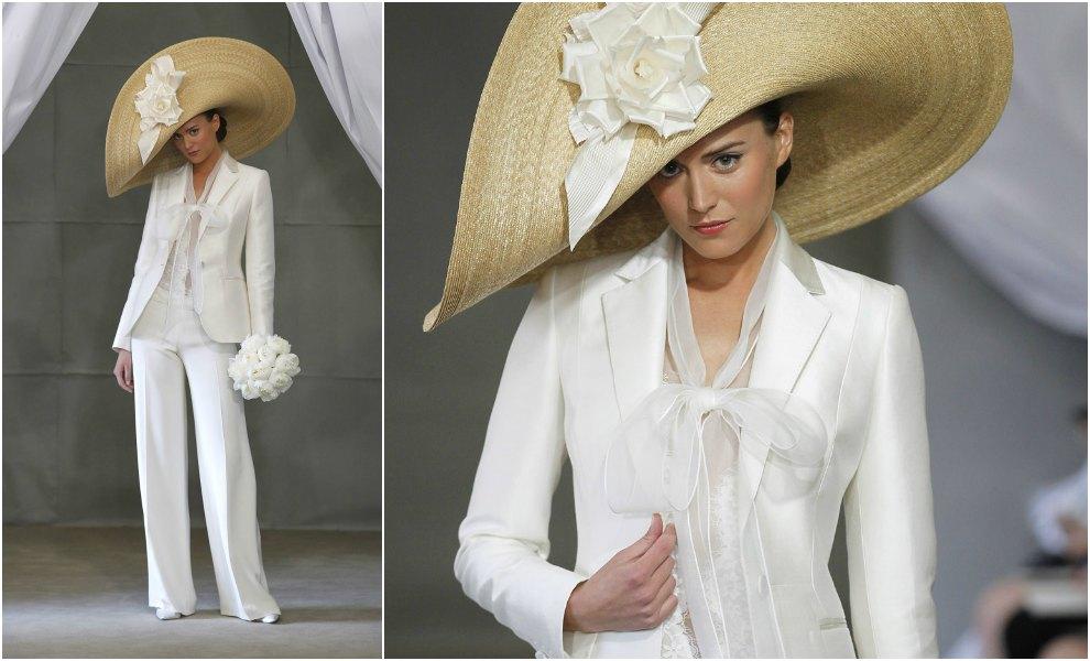 traje de chaqueta clsico para novia con pamela uoversizeu de oscar de la renta