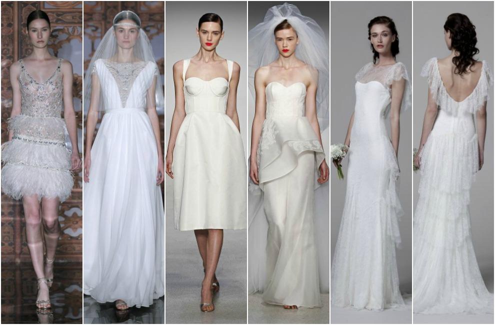 De izquierda a derecha Reem Acra, con sendos vestidos de transparencias y  brocados en hilo de plata, Amsale, con dos looks de novia color marfil de  escote