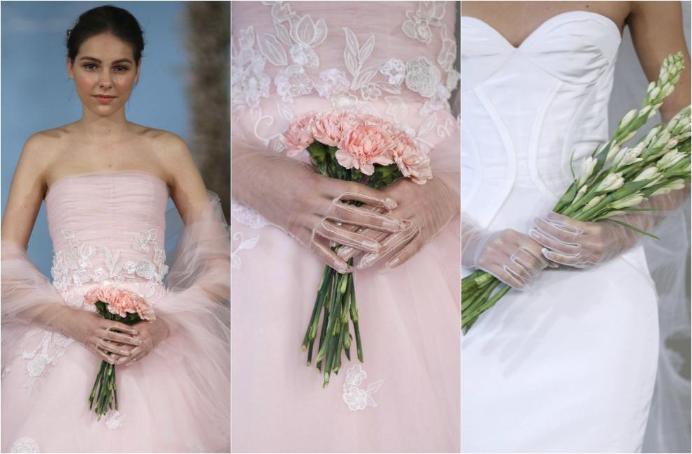 Vestido de novia con ramo de flores