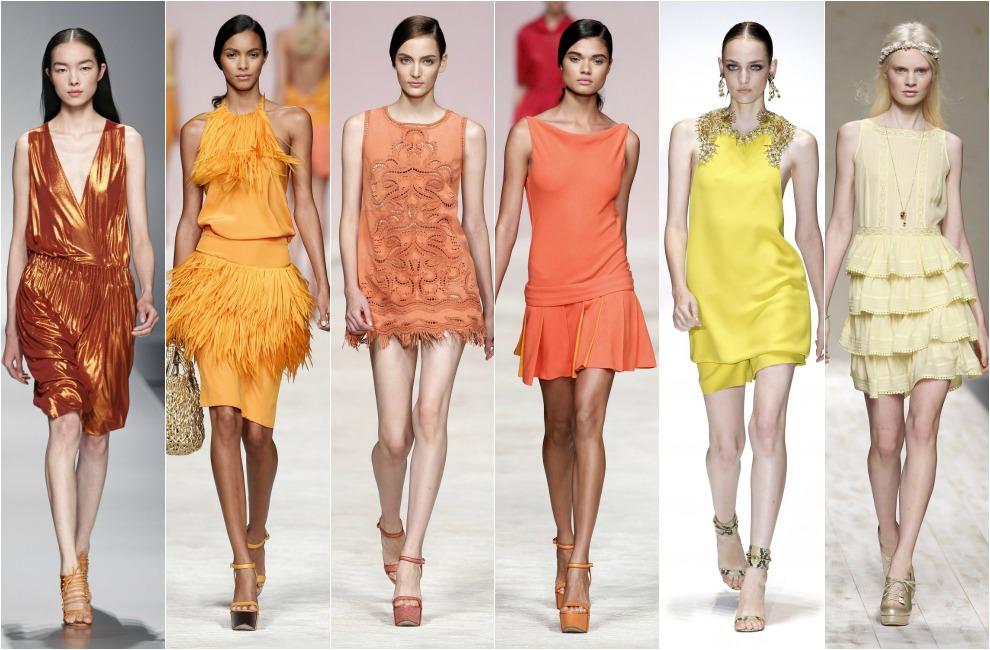 Naranja y limón  Vestido de lamé en color óxido 478dc4cab3c5