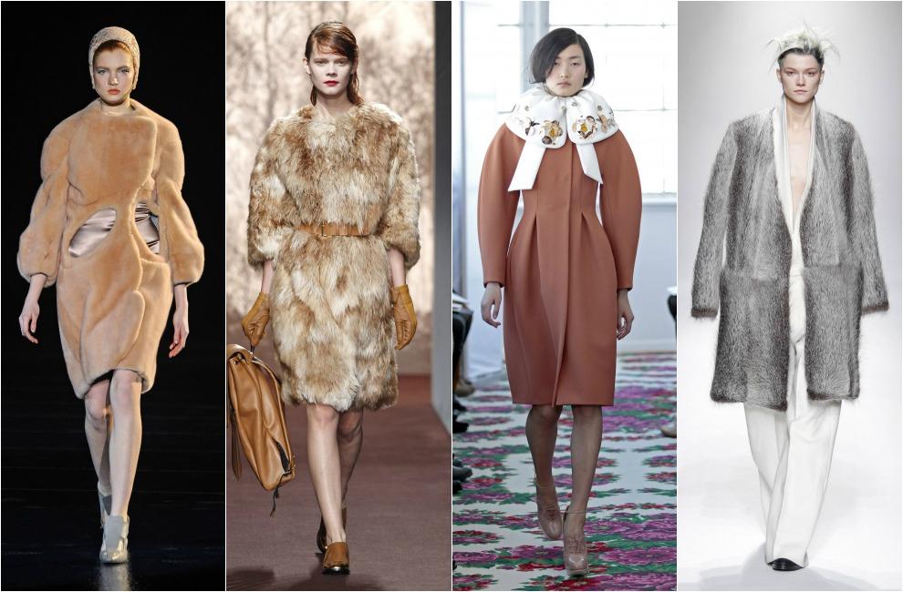 abrigos de piel de pelo en color caramelo de thierry mugler y marni el modelo abombado con cuello beb con bordados es de josep font para delpozo
