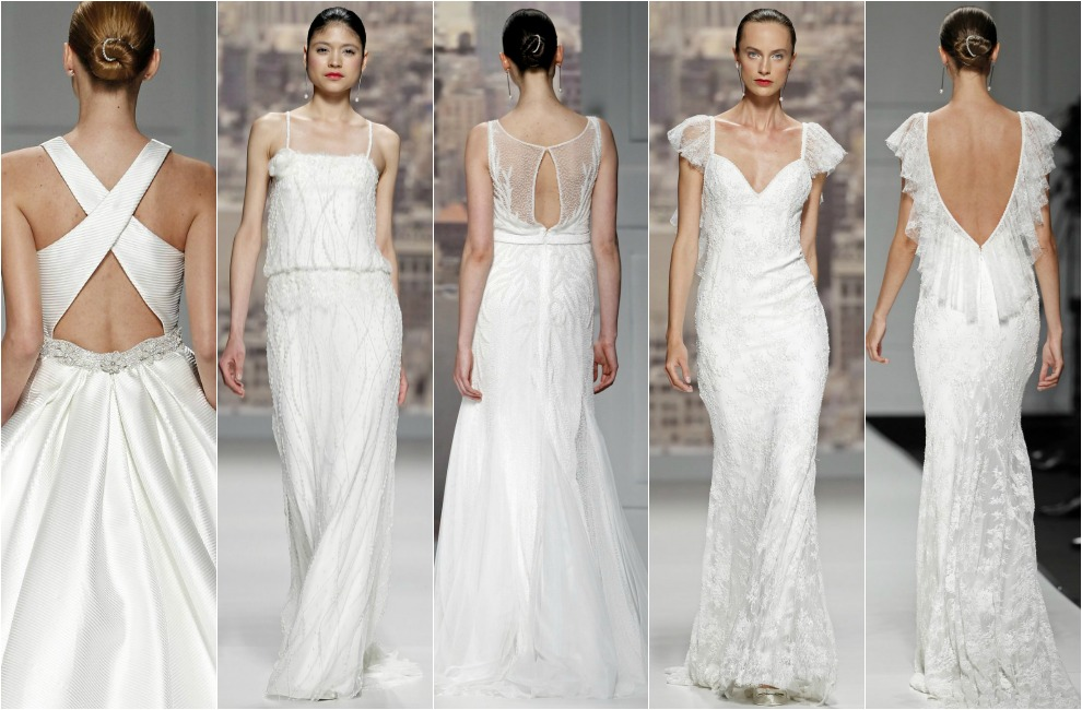 7f1d29a69d5e7 Tres tipos de vestido de novia con espalda al aire vistos en el desfile de  Rosa Clará  con tirante cruzado en seda gruesa rayada