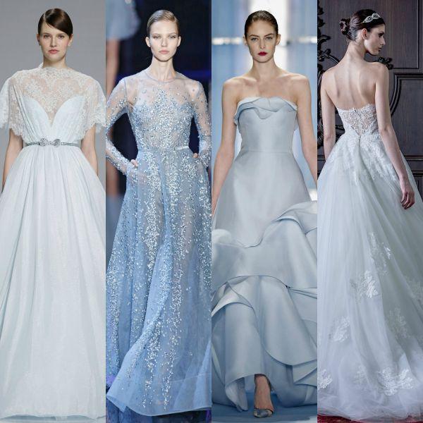 Vestido novia blanco y azul
