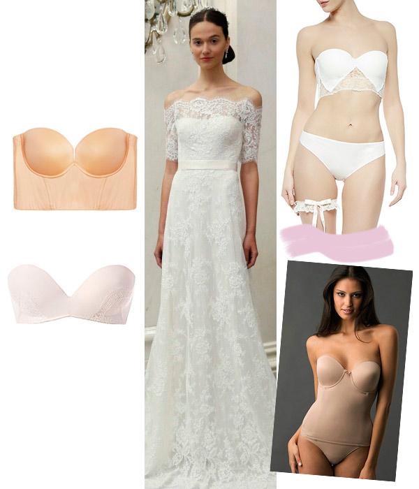 Cuatro tipos de lencería para cuatro vestidos de novia diferentes