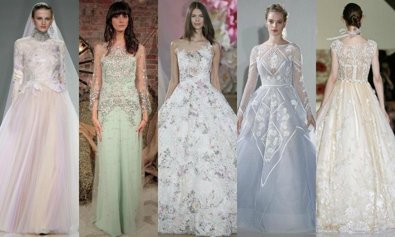 tendencias 2017: vestidos de novia con colores y flores - foto