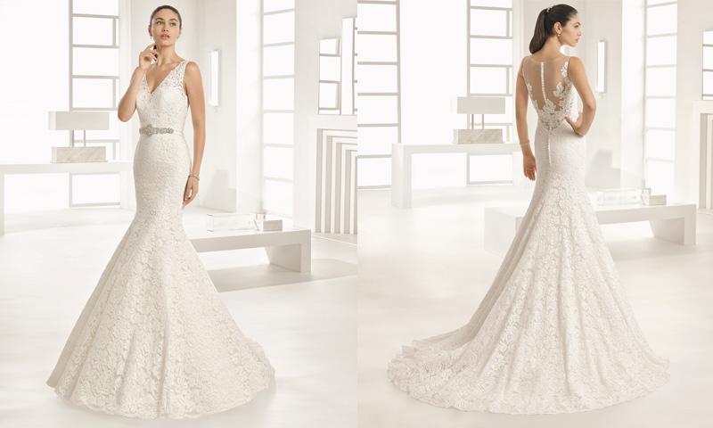 Vestidos de novia corte sirena con pedreria drapeado