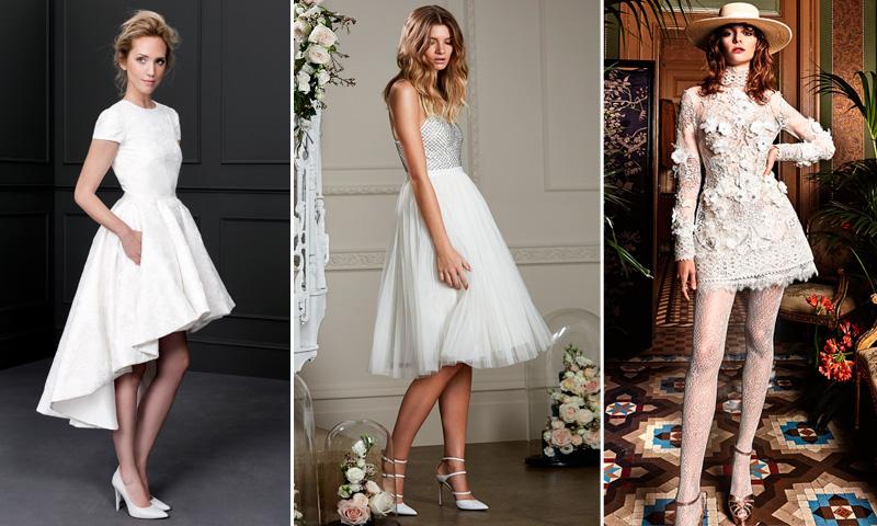 Vestido novia corto tul