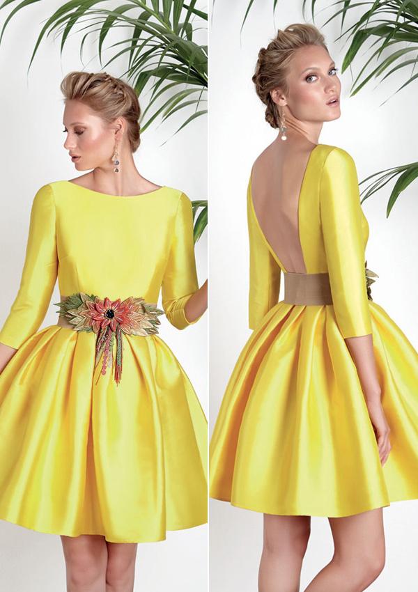 Vestido amarillo boda dia