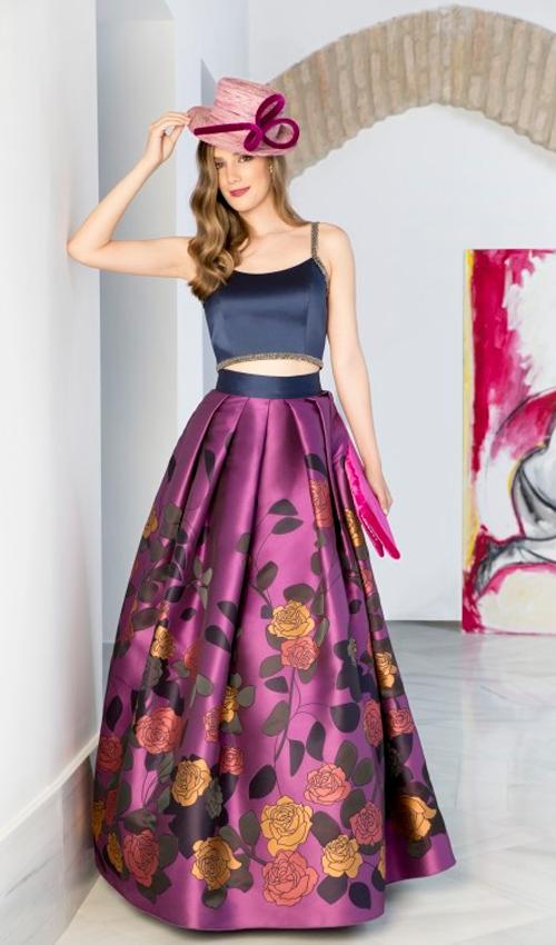 Vestidos con crop top y falda larga