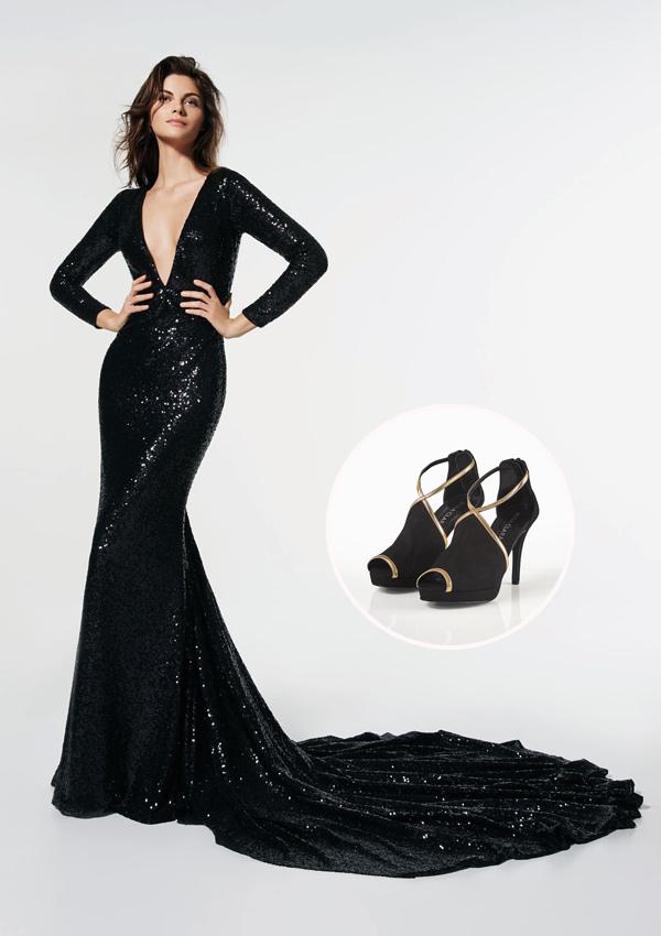 Zapatos para vestido negro largo de noche