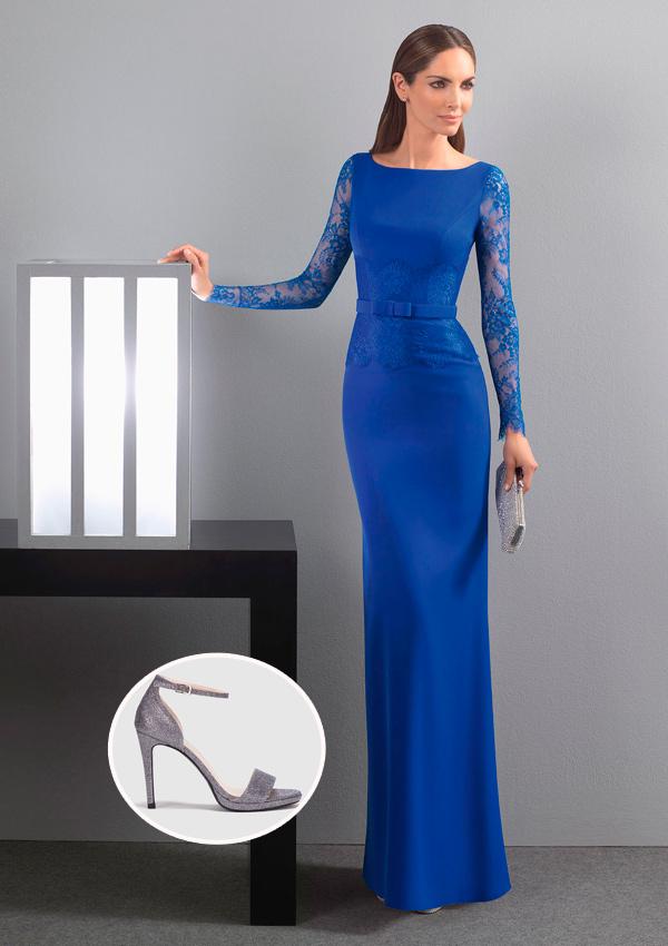 Vestido Negro Largo Con Zapatos Azules Vestidos De Punto 2019