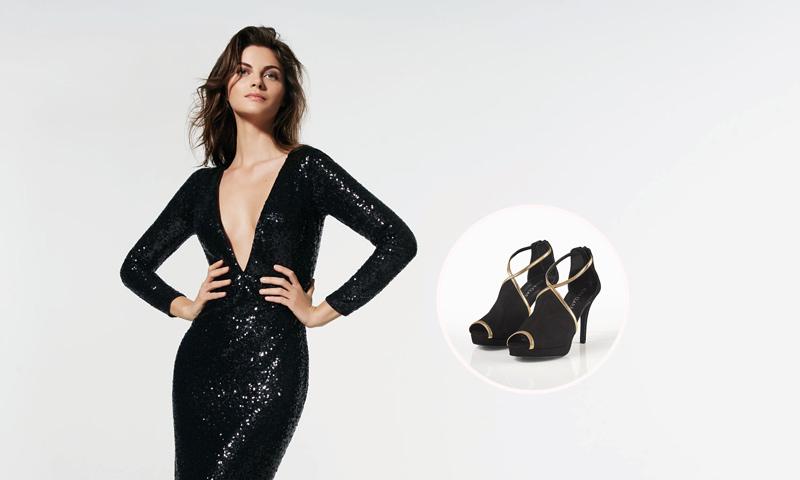 Que zapatos usar con vestido negro floreado