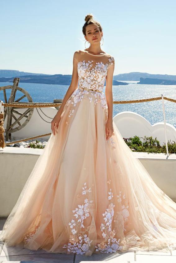 vestido de novia con color rosa – vestidos largos
