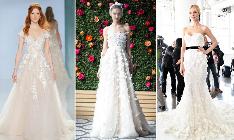 Vestidos de novia con flores en la cintura