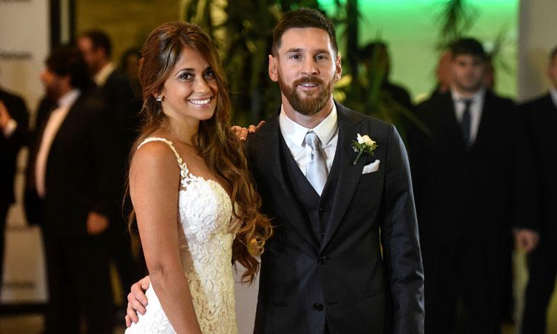 Mujer de messi vestida de novia