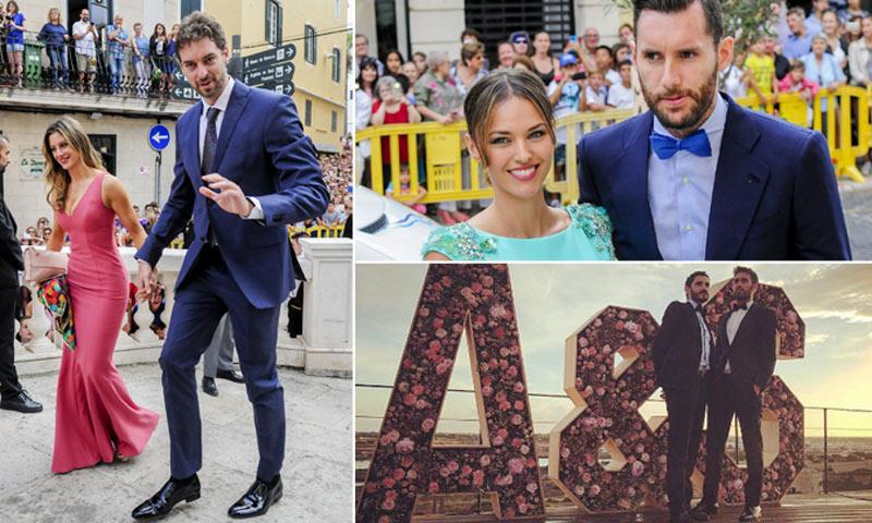 Mucho colorido entre los invitados 'de altura' en la boda de Sergio Llull y Almudena Cánovas
