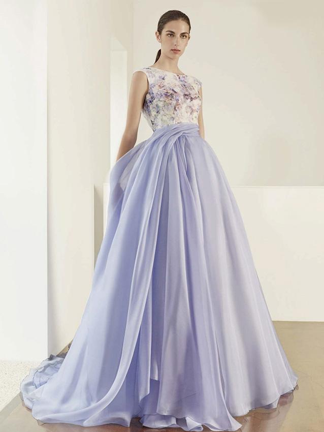 Vestidos de novia blanco con violeta