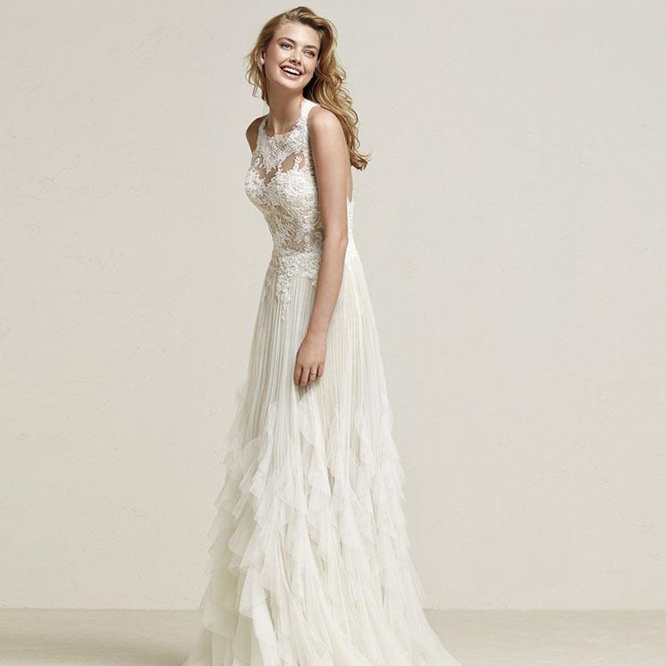 vestidos de novia sin cola para una mujer que huye de lo