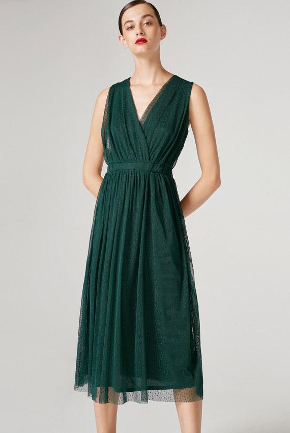 Vestido lencero verde h&m