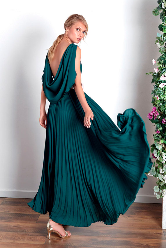 Vestido invitada verde oscuro