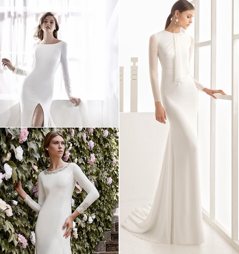 siete vestidos denovia de manga larga para bodas de invierno - foto
