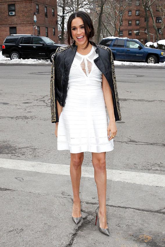Meghan Markle White short babydoll dress