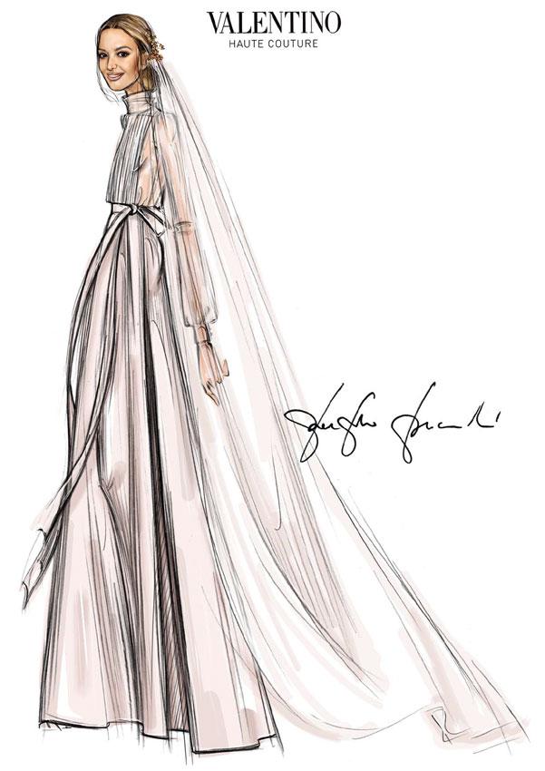 Boda de Marta Ortega: el boceto de su vestido de novia de Valentino